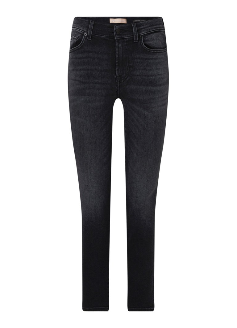 7 For All Mankind - Roxanne Slim Fit Jeans mit mittlerer Taille - Dunkelgrau
