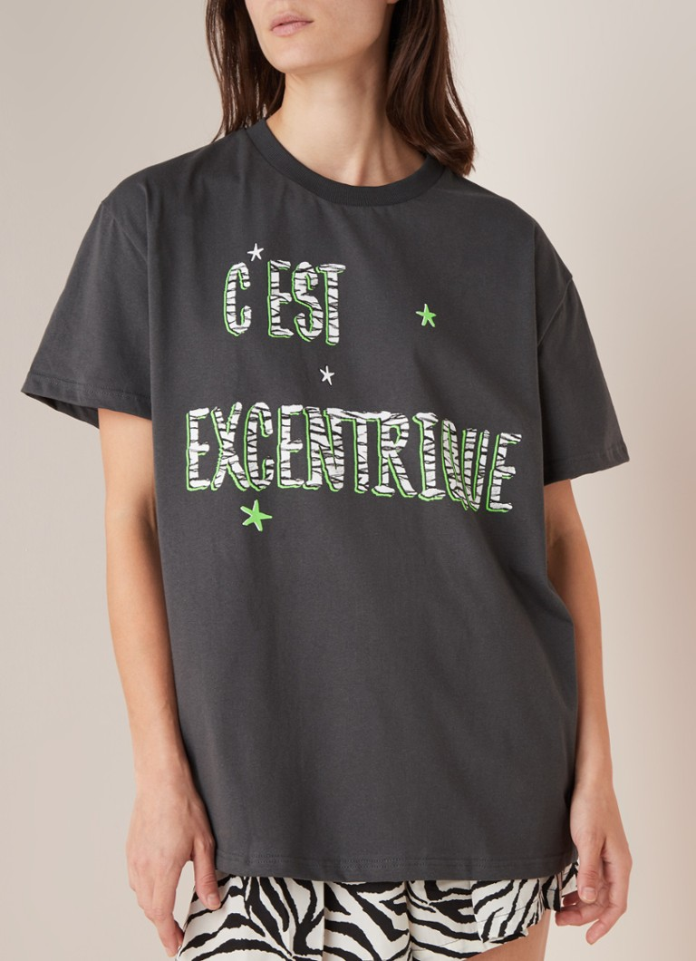 Colourful Rebel - C'est Excentrique Oversized-T-Shirt mit Print - Anthrazit