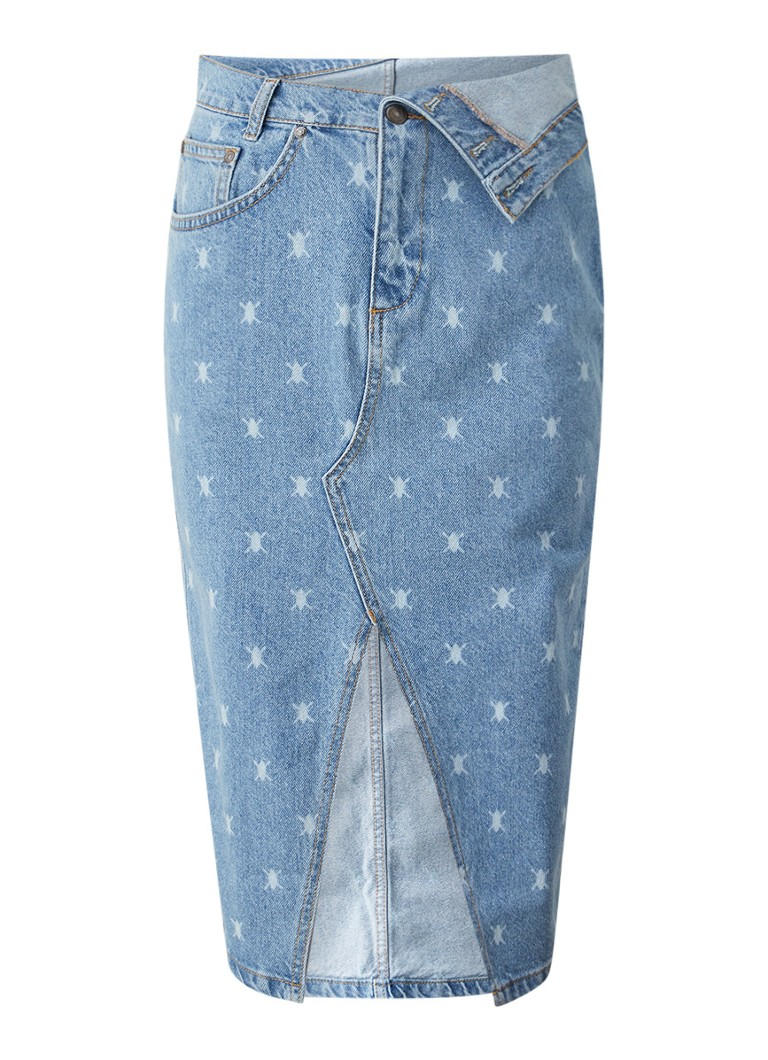 Daily Paper - Rehowi Jeansrock mit Logo-Print - Hellblau