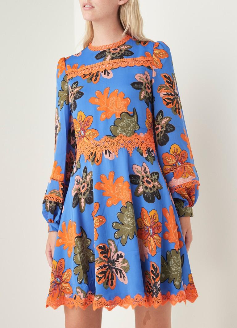 damsel in a dress binx minikleid mit spitze und blumendruck