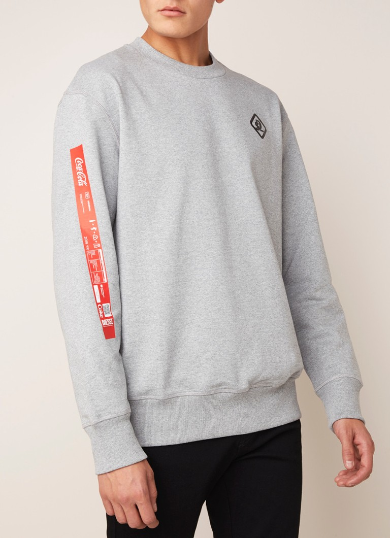 Diesel - Bay Cola Sweater mit Logoprint - Graumeliert