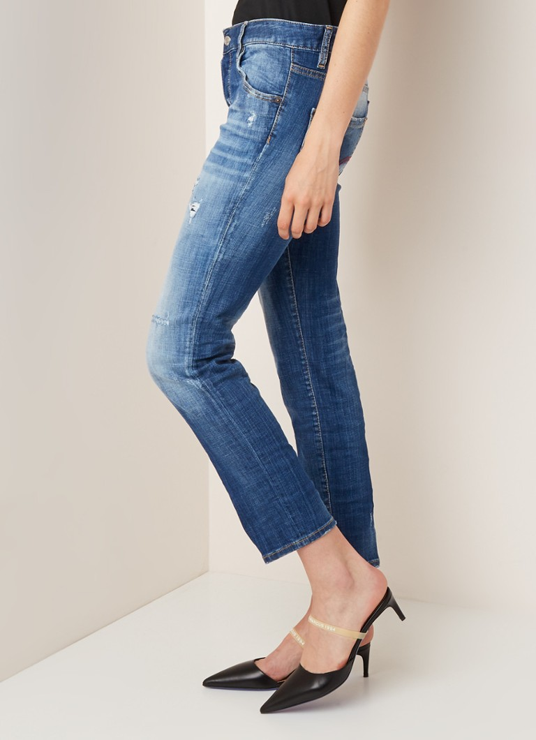 Dsquared2 - Cool Girl mittelhohe Jeans im Slim Fit mit Ripped-Details - Indigo