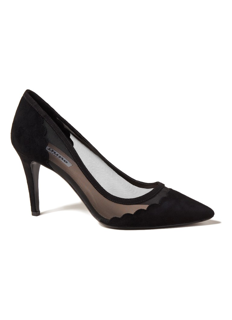 Dune London - Bellevue Pumps aus Wildleder mit Mesh-Details - Schwarz