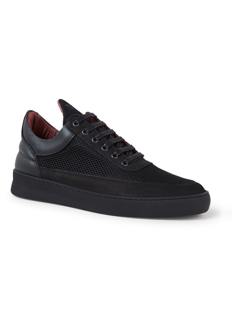 Filling Pieces - Low Top Plain Infinity Sneaker aus Mesh und Leder - Schwarz
