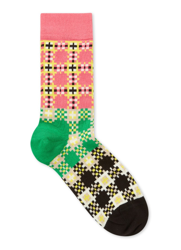 Happy Socks - Tartan Square Socken mit Aufdruck - Rosa