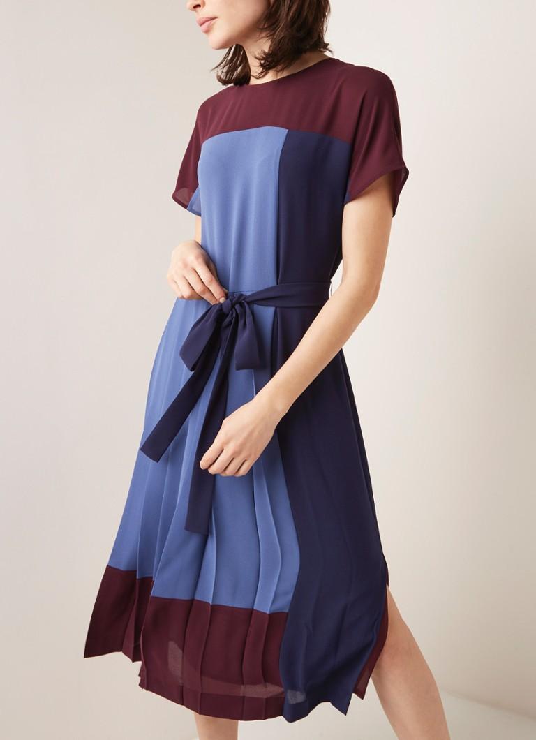 HUGO BOSS Hidesa Tunikakleid aus Satin mit Colour Block • de Bijenkorf