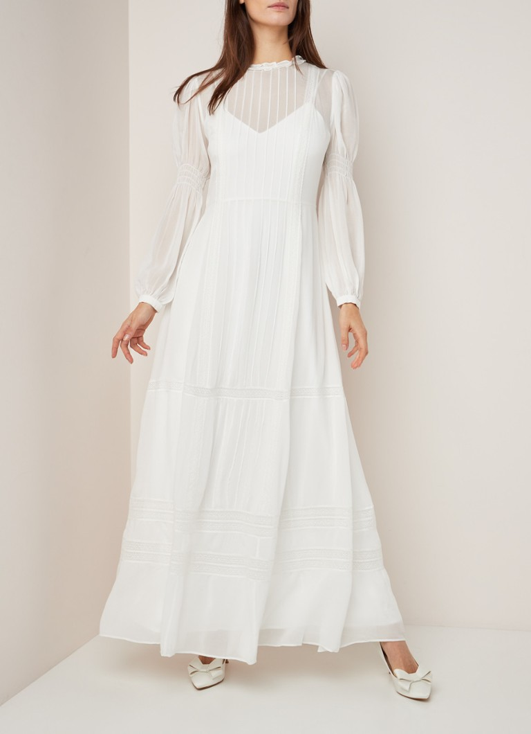 Ivy & Oak Chiffon Brautkleid mit Trapework und Rüschen • Weiß • de Bijenkorf