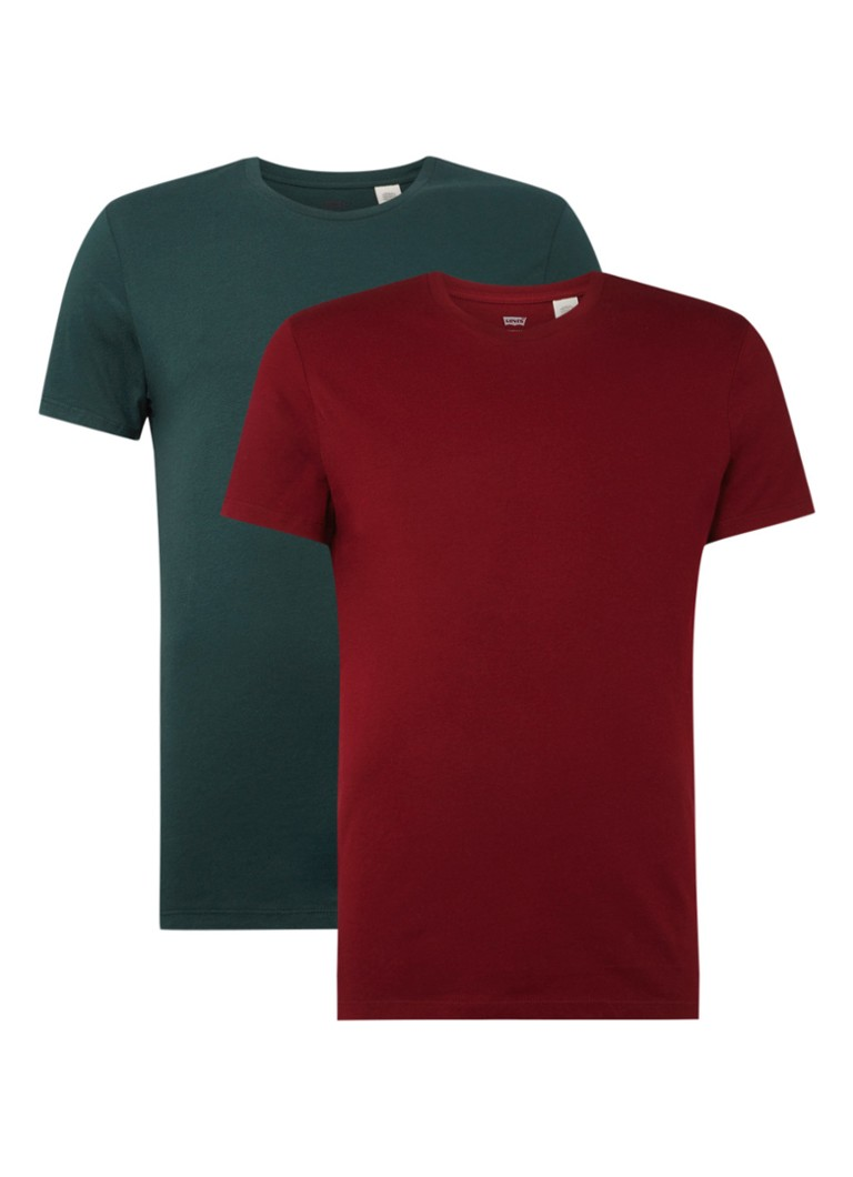 Levi's - Slim Fit T-Shirt im 2er-Pack - Dunkelgrün