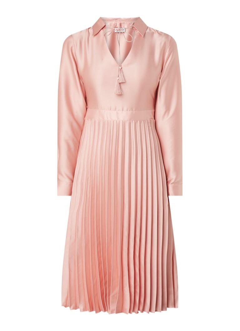 liu jo midi-kleid aus satin mit plissé • rosa • de bijenkorf