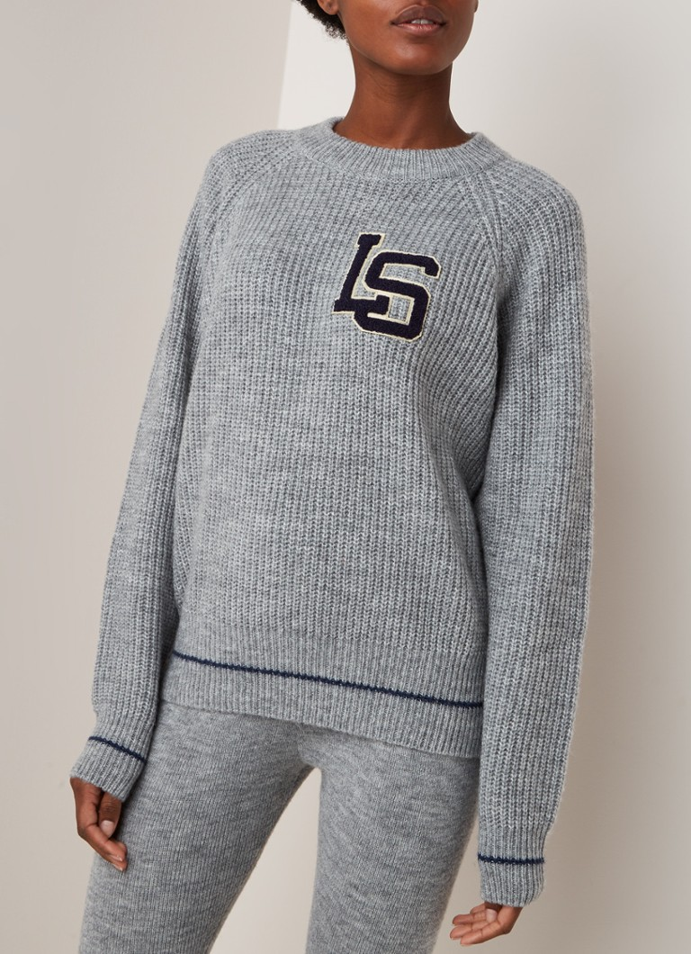 Love Stories - Grob gestrickter Lounge-Pullover mit Logo-Patch - Graumeliert