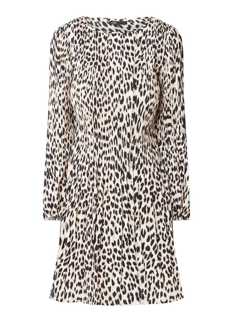 Maje Rockine Minikleid mit Plissee und Leopardenmuster • de Bijenkorf