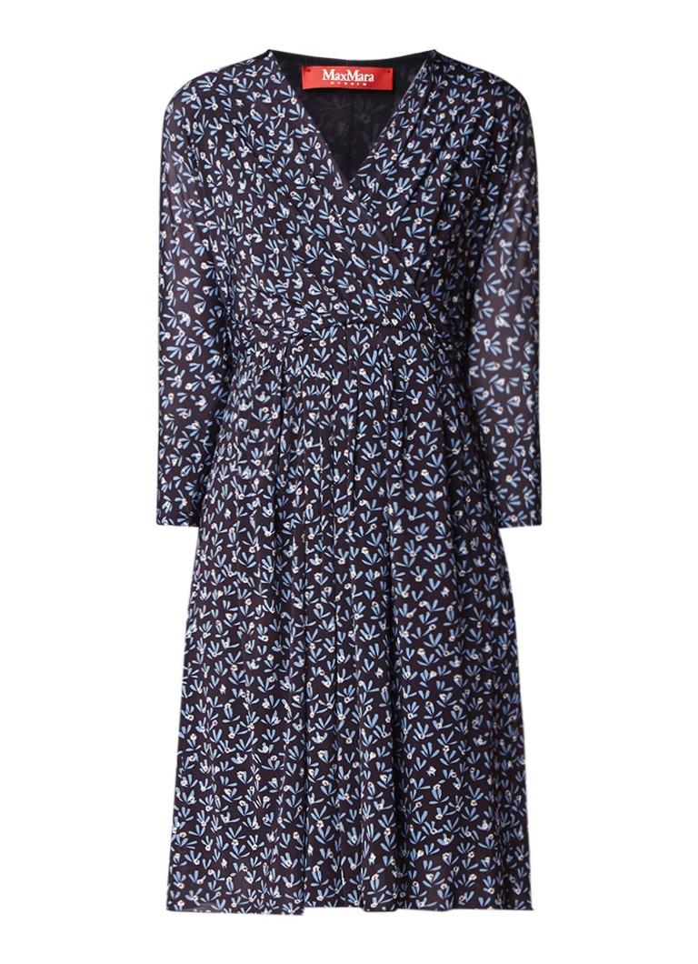 schön MaxMara Smirne Kleid mit Blumenmuster und Gürtel • Dunkelblau • de Farbe