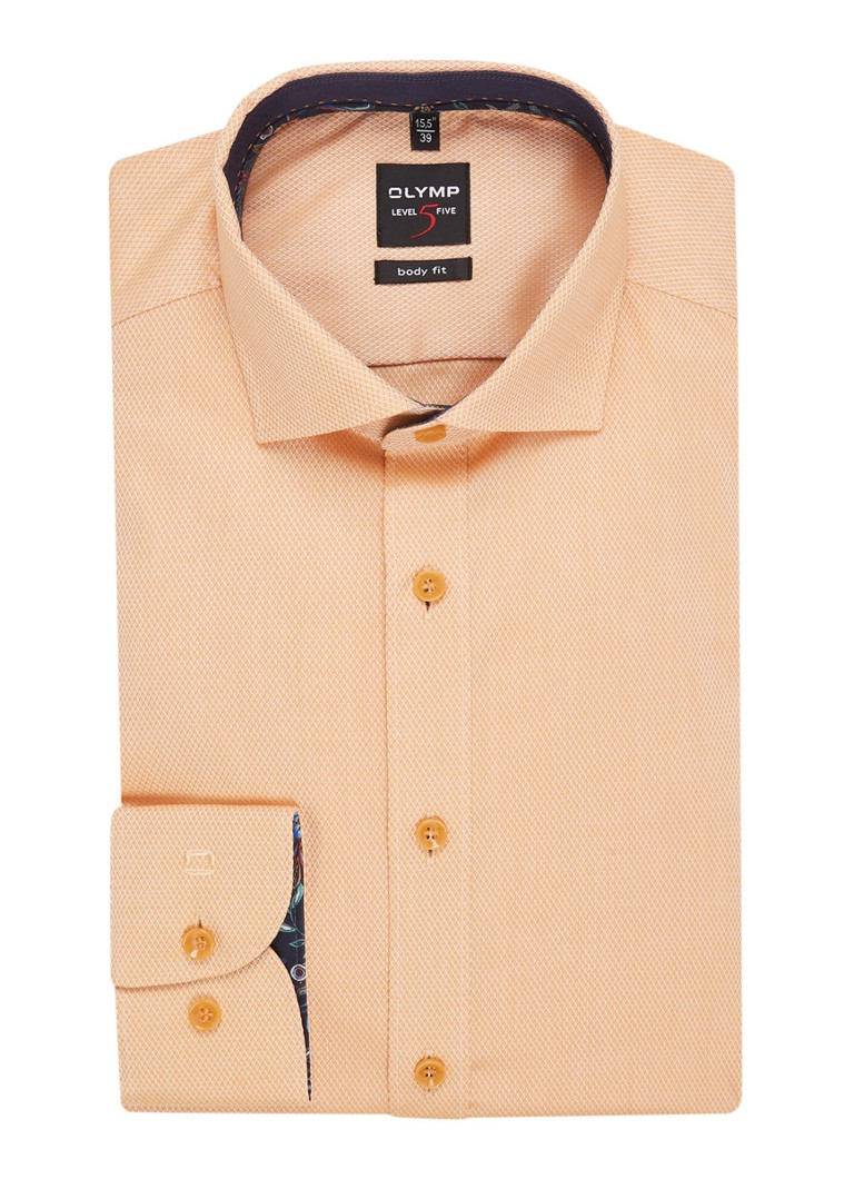 Olymp - Slim Fit Shirt mit Stretch und Struktur - Orange
