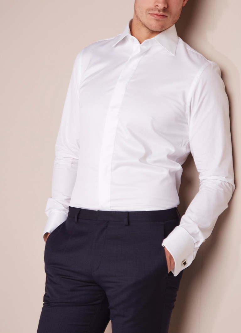 Profuomo - Smokinghemd Slim Fit Shirt in Weiß - Weiß