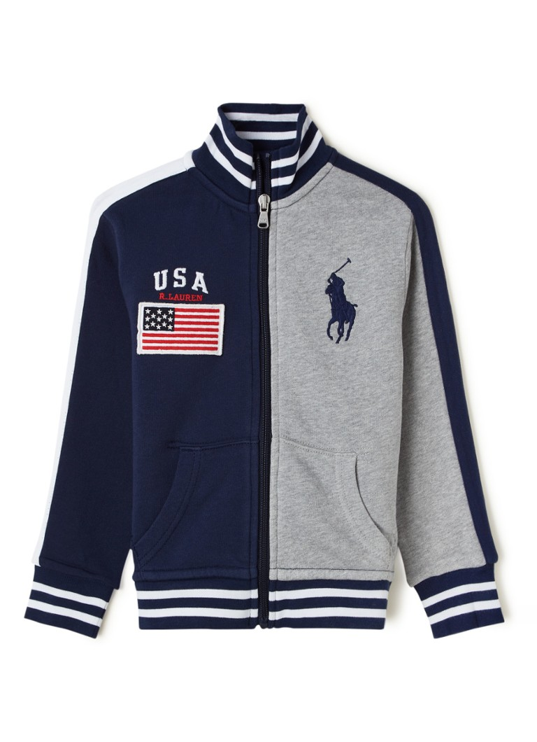 Ralph Lauren - Sweatjacke mit Colour Blocking und Logo-Stickerei - Dunkelblau