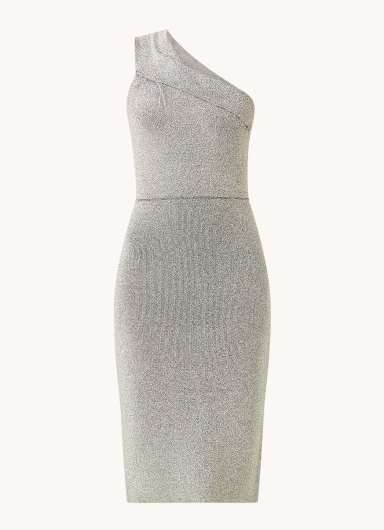 Reiss Midi One Shoulder Kleid mit Glitzer • de Bijenkorf