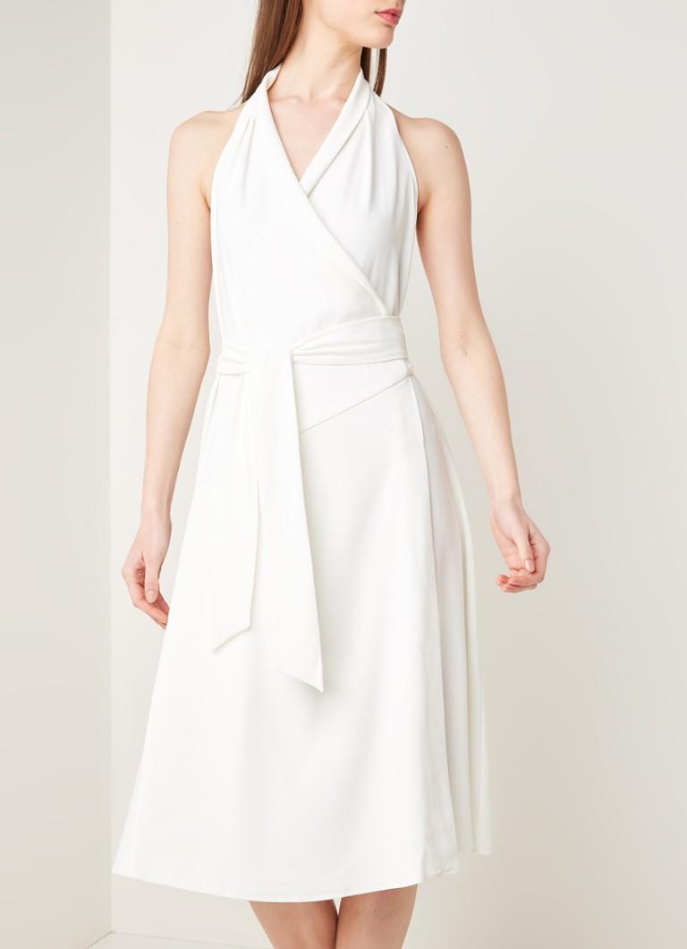 Reiss Piper Midi Neckholder Kleid mit Bindegürtel • Weiß • de
