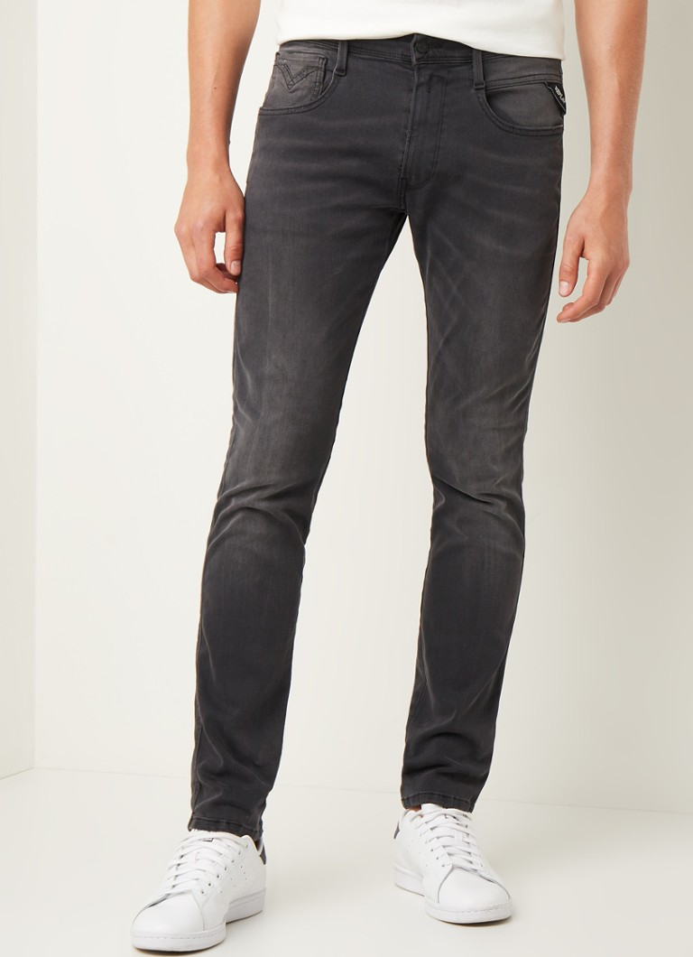 Replay - Anbass Slim Fit Jeans mit Stretch - Dunkelgrau