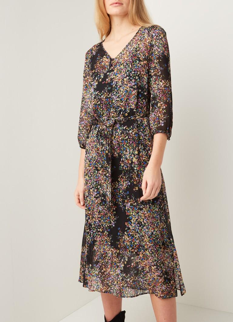 SET Midi-Kleid aus Chiffon mit Blumenmuster