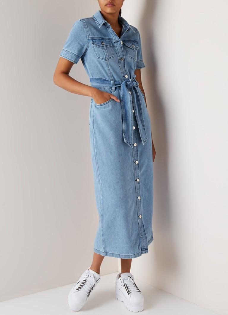 Original Kauf Schlussverkauf neu billig Warehouse Maxi-Jeanskleid mit Schleifengürtel • de Bijenkorf