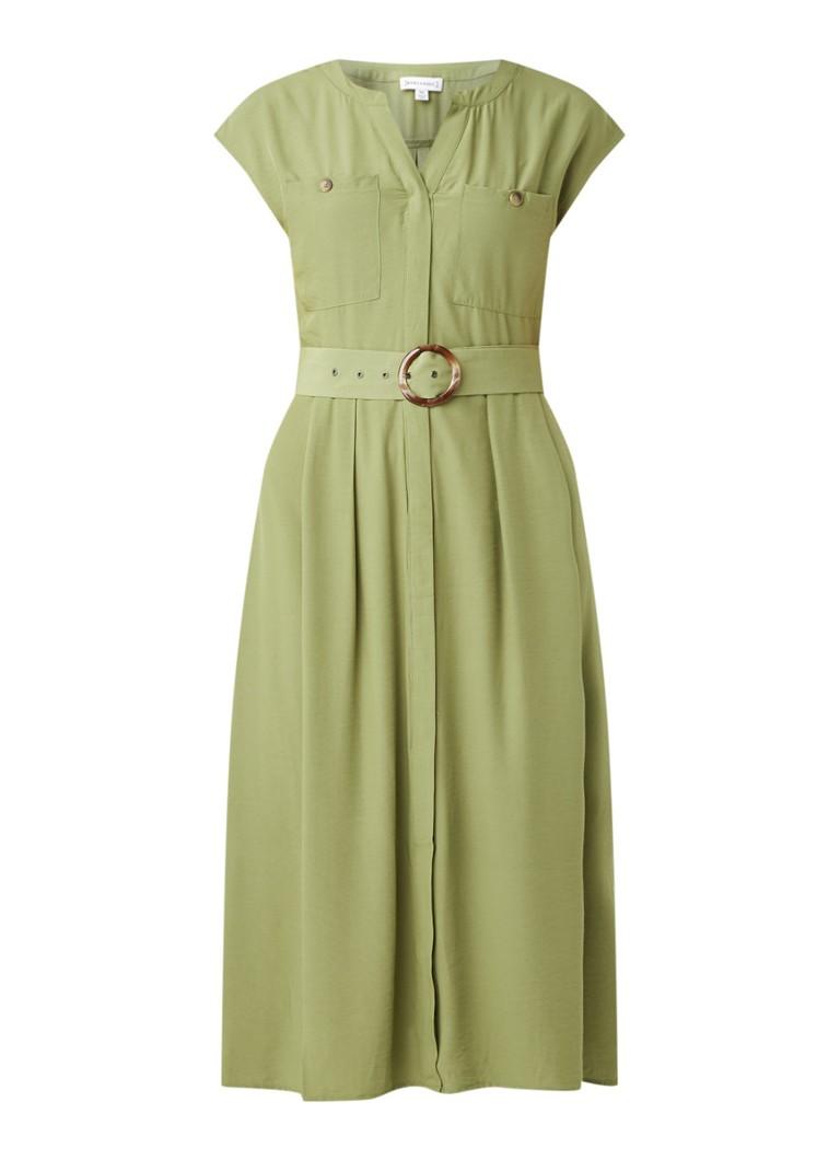 Warehouse Midi-Kleid mit Gürtel